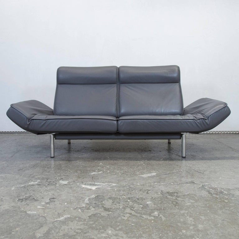 De Sede DS 450 Designer Leather Sofa Grey Anthrazit Decliner Modern Real Leather 2
