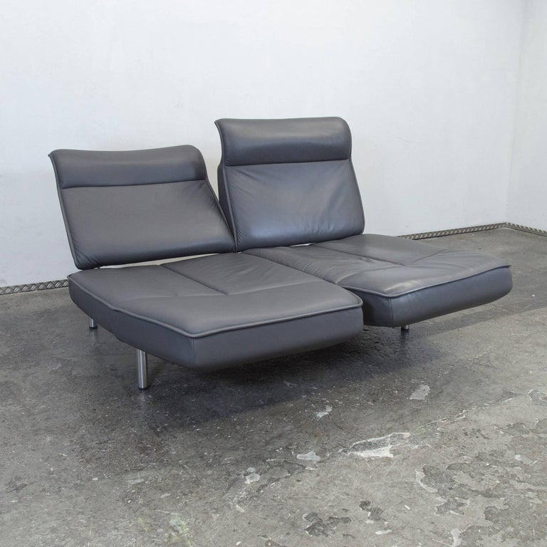De Sede DS 450 Designer Leather Sofa Grey Anthrazit Decliner Modern Real Leather 4