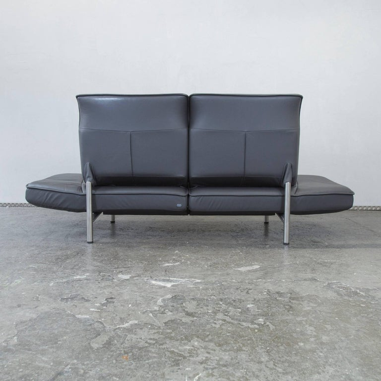 De Sede DS 450 Designer Leather Sofa Grey Anthrazit Decliner Modern Real Leather 10