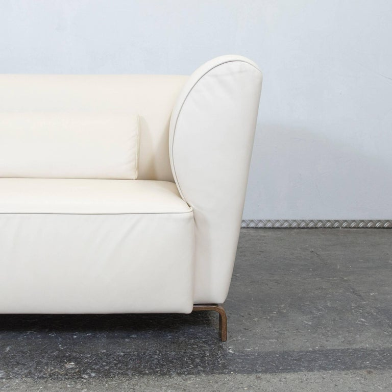 br hl and sippold designer leather sofa cream two seat at 1stdibs. Black Bedroom Furniture Sets. Home Design Ideas