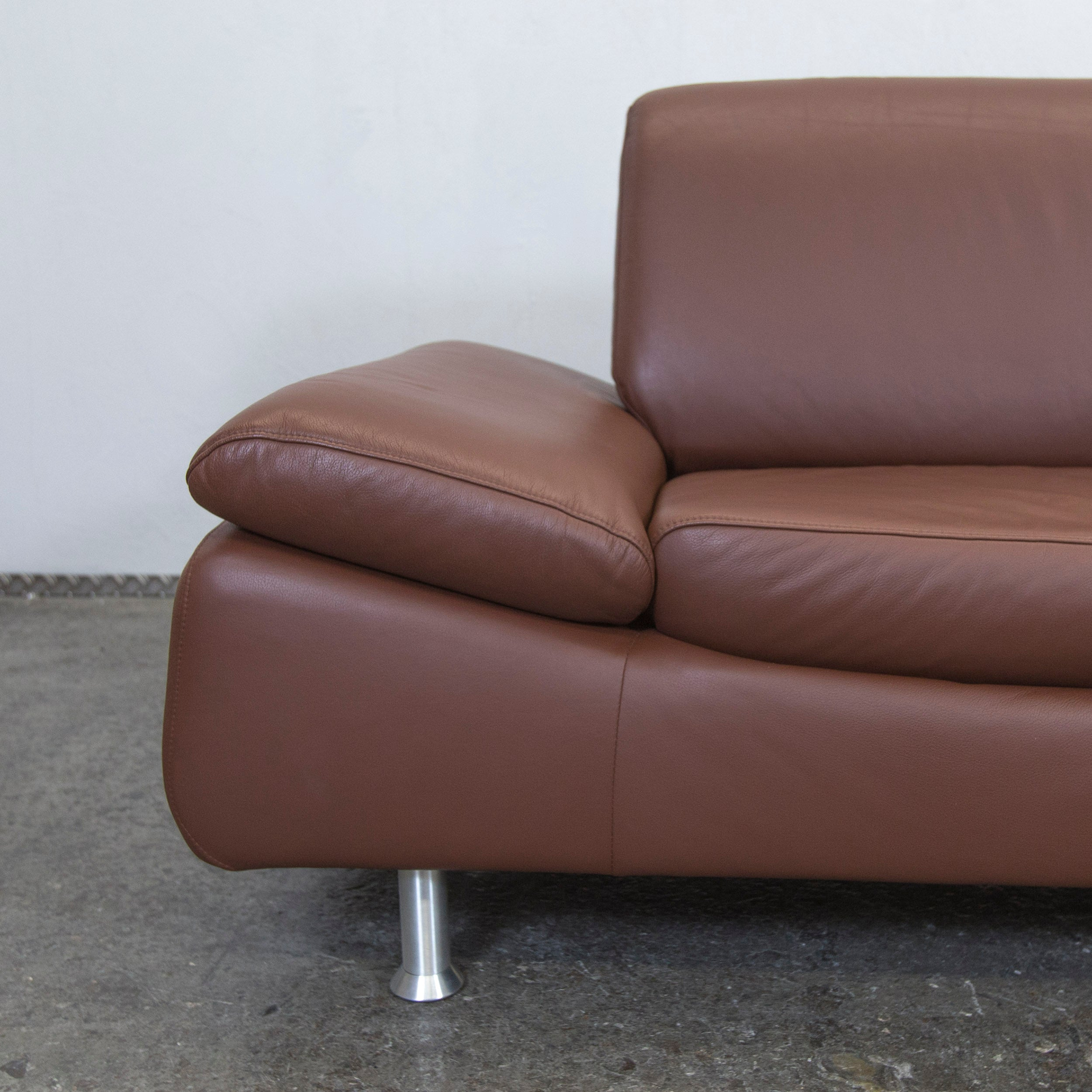 Designer Leather Sofa Brown Function Three Seat Modern At 1stdibs