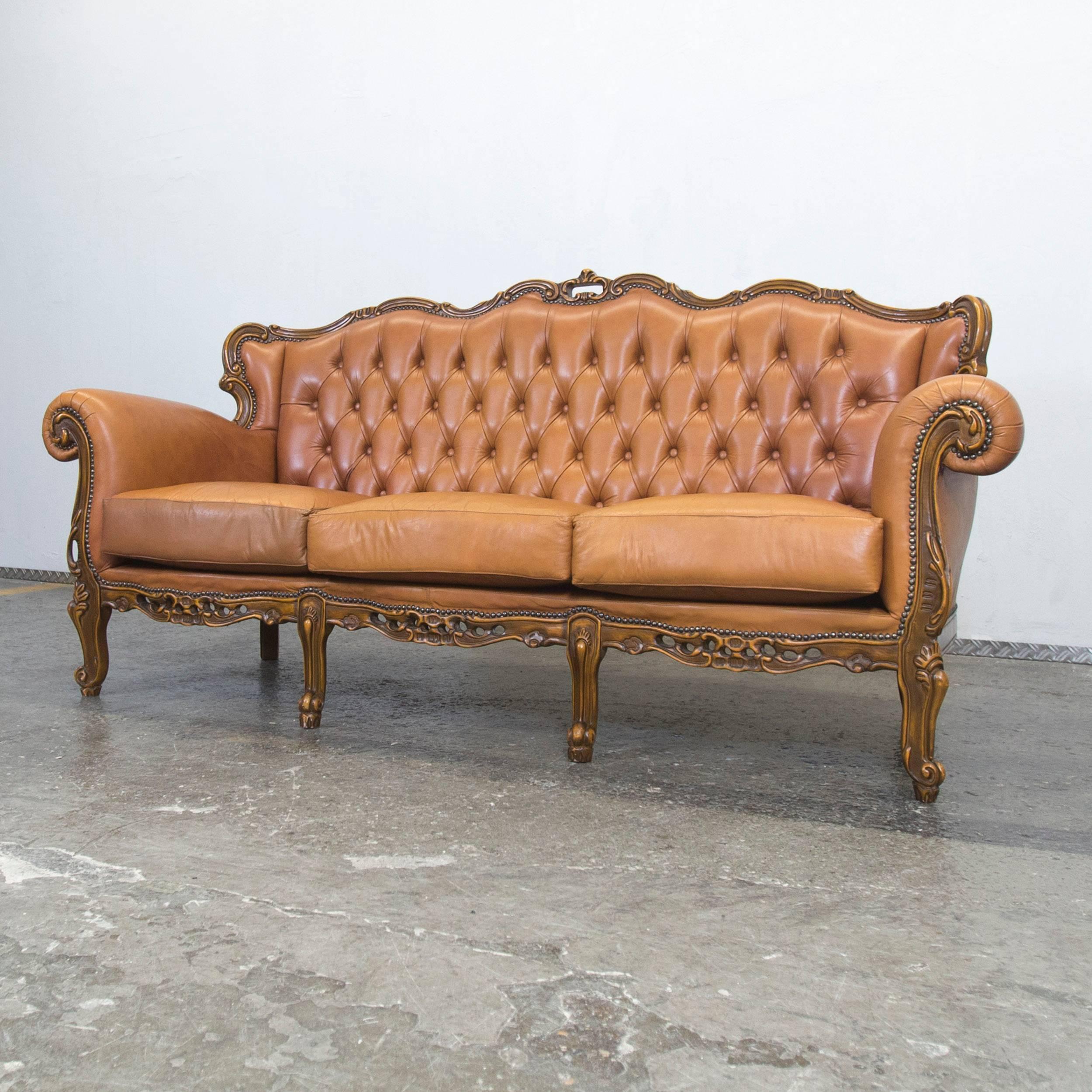 Sofa Cognac Braun Leder Baci Living Room