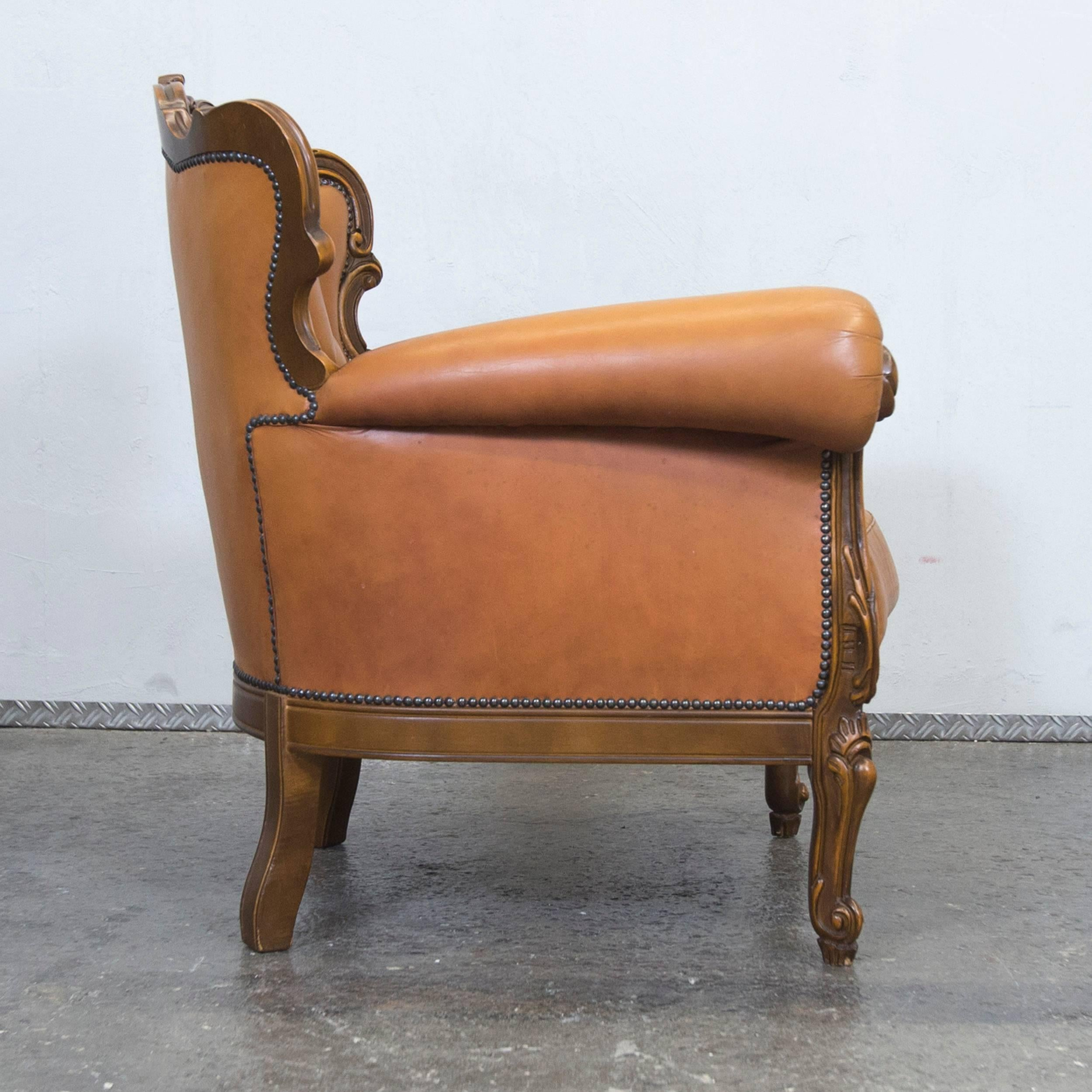 Bon 20th Century Chesterfield Baroque Leather Armchair Cognac Brown One Seat  Wood Retro Vintage For Sale