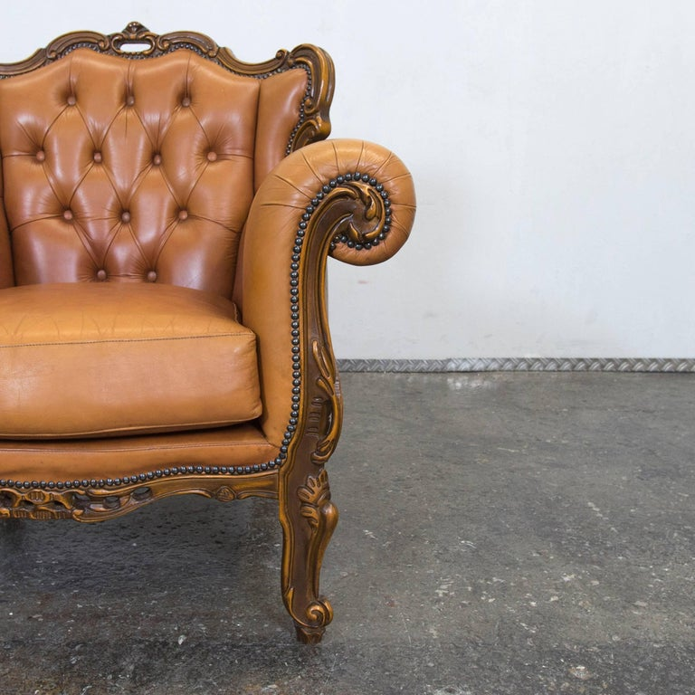 Chesterfield Baroque Leather Armchair Cognac Brown One