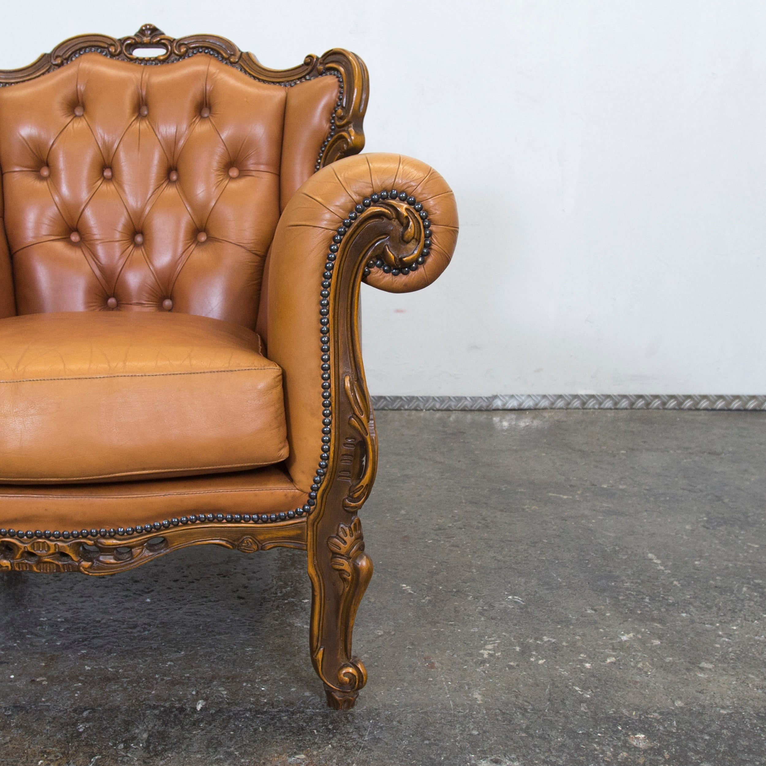 Chesterfield Baroque Leather Armchair Cognac Brown One Seat Wood Retro  Vintage At 1stdibs