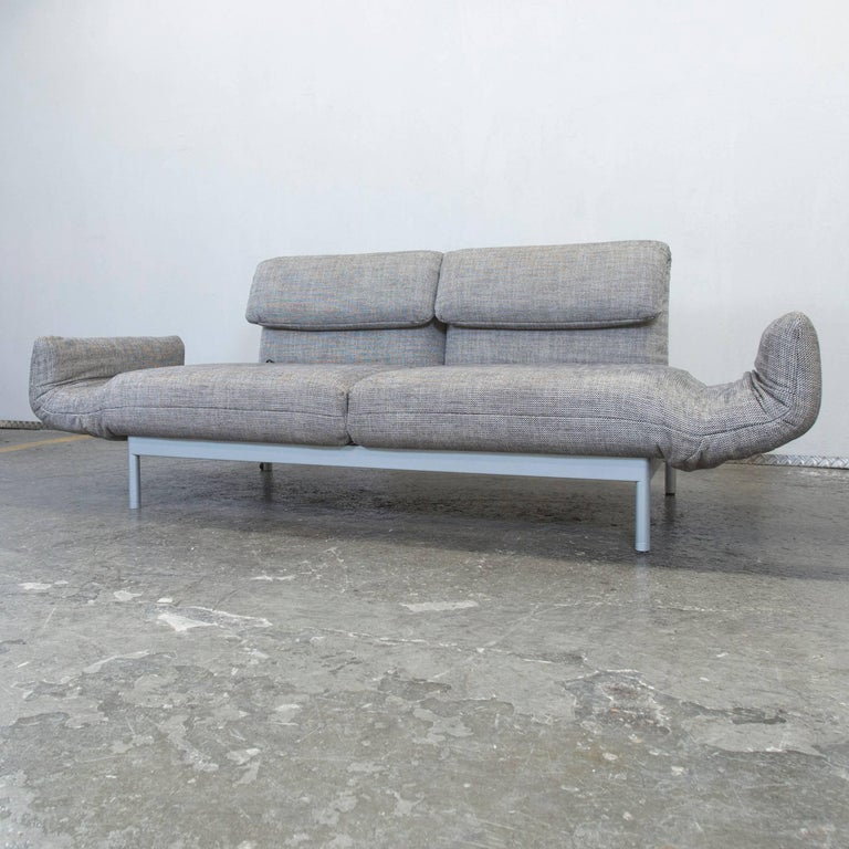 Rolf Benz Plura Designer Sofa Structured Fabric Grey Beige