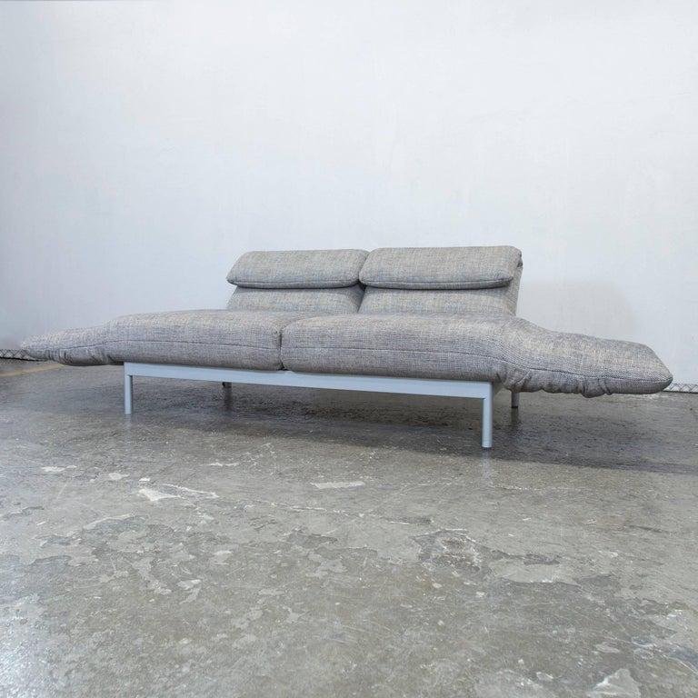 Rolf Benz Plura Designer Sofa Structured Fabric Grey Beige