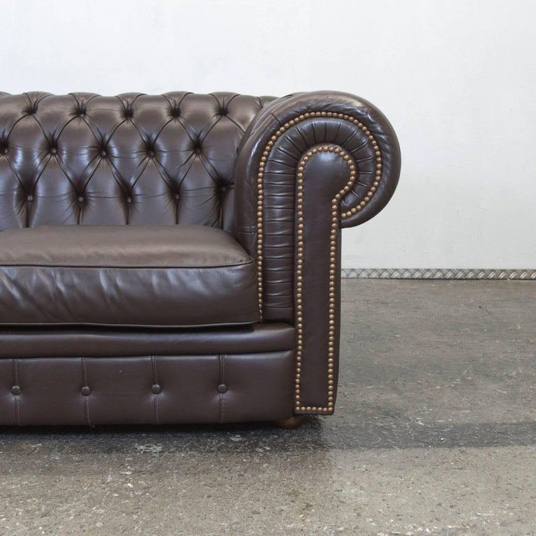 calia chesterfield sofa brown leather three seat couch. Black Bedroom Furniture Sets. Home Design Ideas