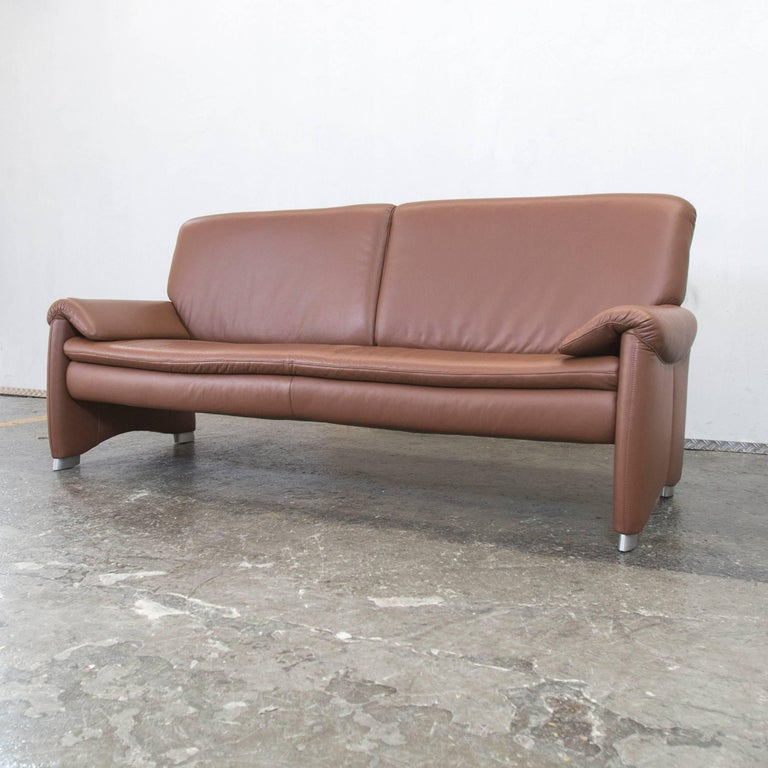 h lsta designer sofa brown leather three seat couch modern at 1stdibs. Black Bedroom Furniture Sets. Home Design Ideas