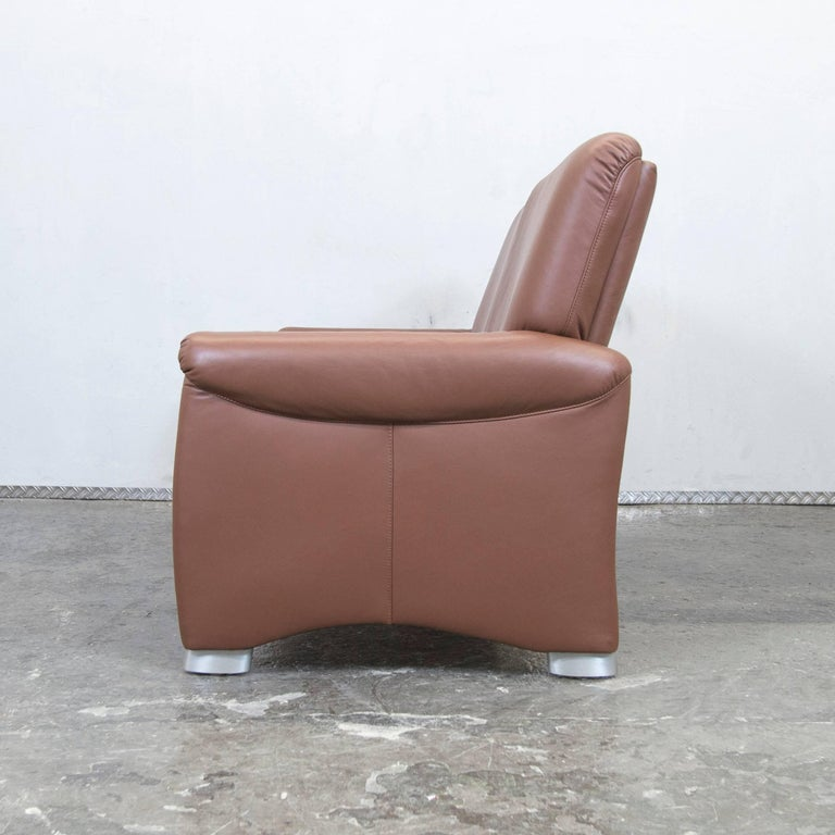 h lsta designer sofa brown leather two seat couch modern at 1stdibs. Black Bedroom Furniture Sets. Home Design Ideas
