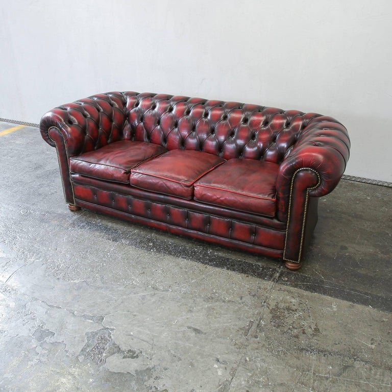 Chesterfield Leather Sofa Oxblood Red Three Seat Couch