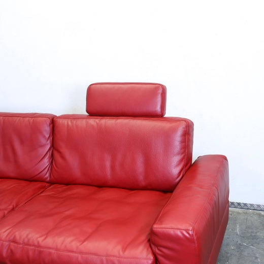 Musterring Cornersofa Red Leather Couch Designer Sofa Modern ...
