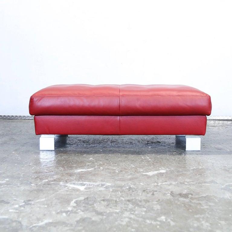 musterring footstool red leather designer pouff stool. Black Bedroom Furniture Sets. Home Design Ideas