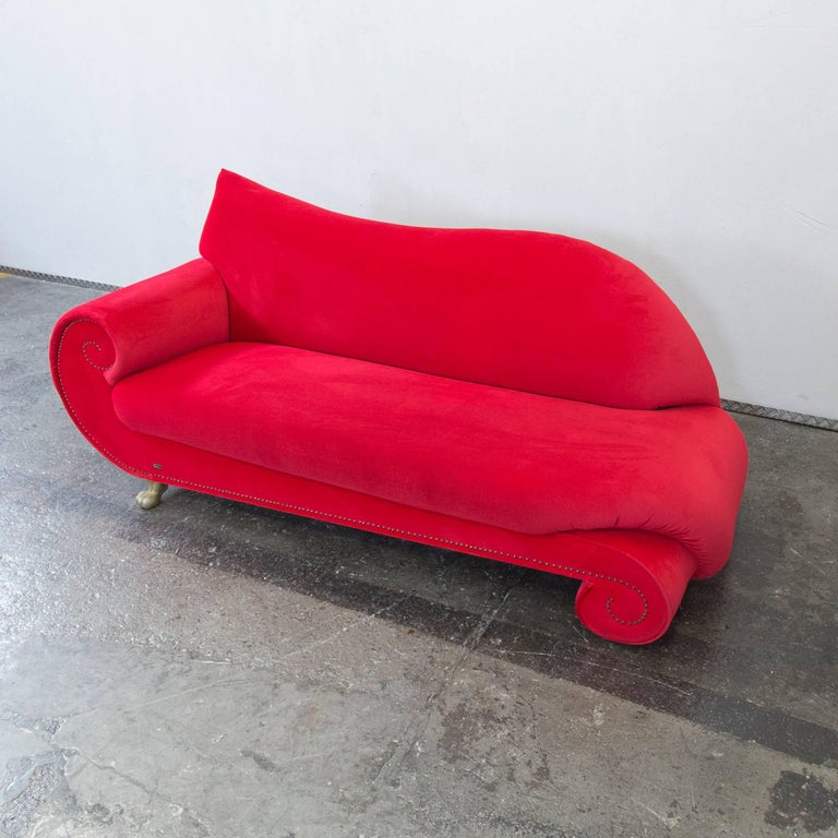original bretz gaudi designer sofa red fabric chaiselongue recamiere three seat at 1stdibs. Black Bedroom Furniture Sets. Home Design Ideas