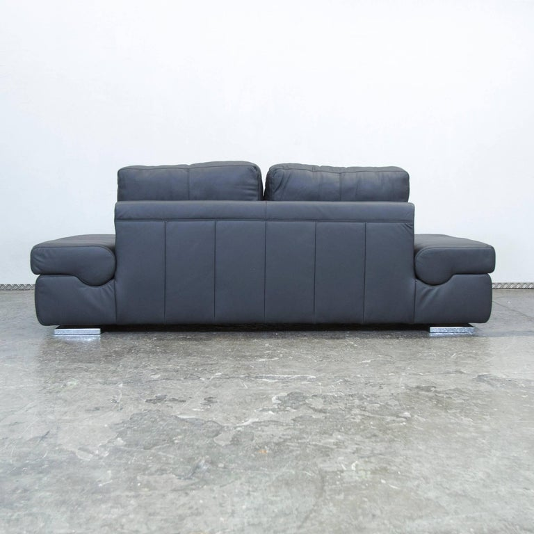 musterring linea designer leather sofa black three seat. Black Bedroom Furniture Sets. Home Design Ideas