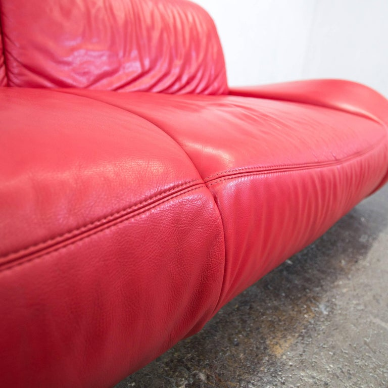 Hummel Designer Leather Sofa Red Three-Seat Couch Modern Function at ...