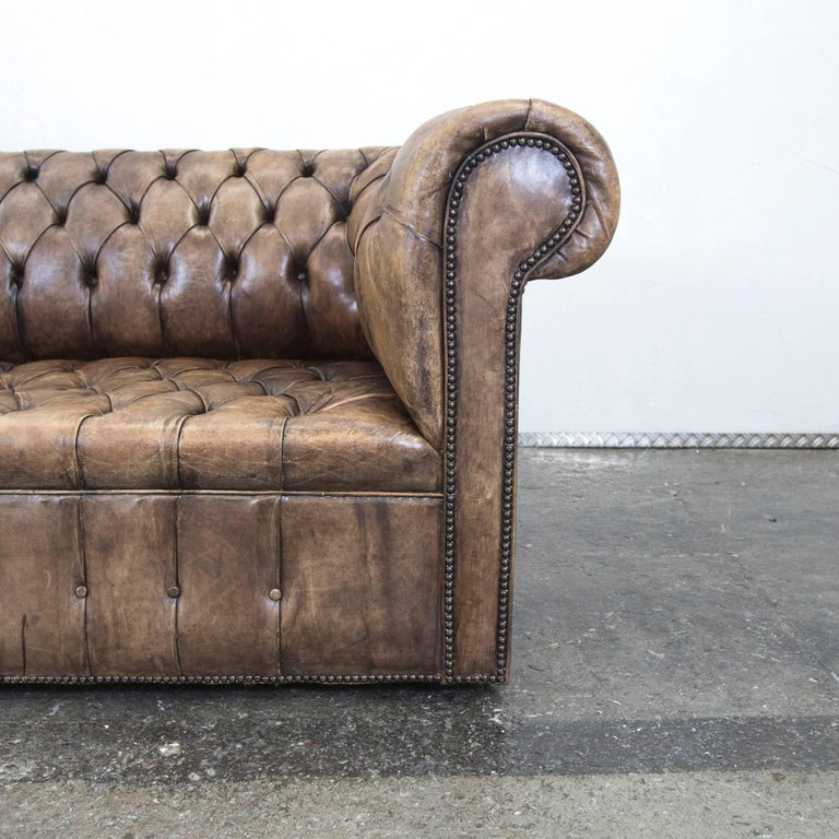 chesterfield sofa brown beige leather three seat couch vintage retro for sale at 1stdibs. Black Bedroom Furniture Sets. Home Design Ideas