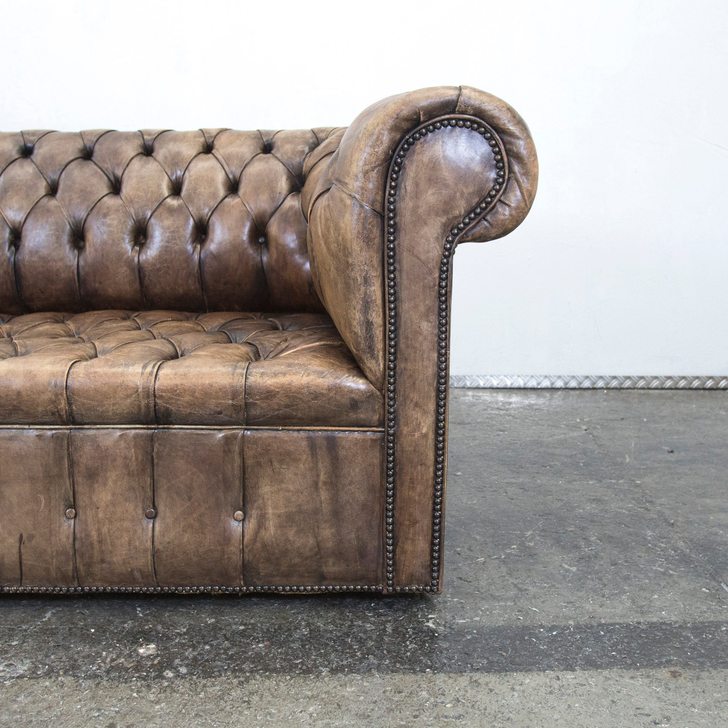 Chesterfield Sofa Brown Beige Leather Three Seat Couch Vintage Retro For  Sale At 1stdibs