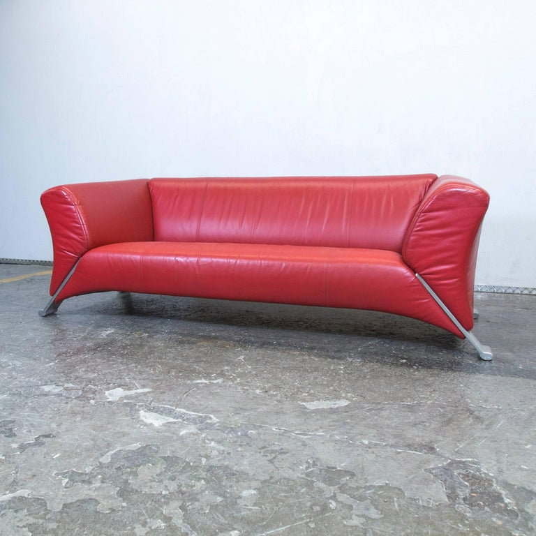 Rolf Benz 322 Designer Leather Sofa Red Three Seat Couch