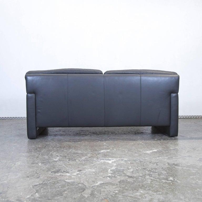 wk wohnen designer sofa black leather three seat couch