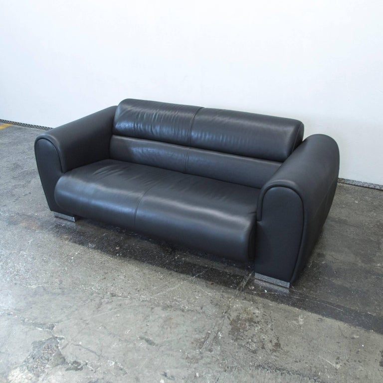 br hl sumo designer leather sofa black two seat couch modern for sale at 1stdibs. Black Bedroom Furniture Sets. Home Design Ideas