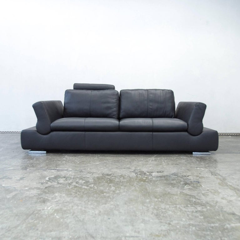 Musterring Linea Designer Leather Sofa Black Three Seat Couch Function Modern At 1stdibs