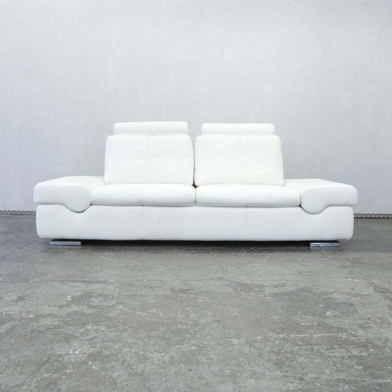 Musterring linea designer leather sofa white three seat for Musterring sofa