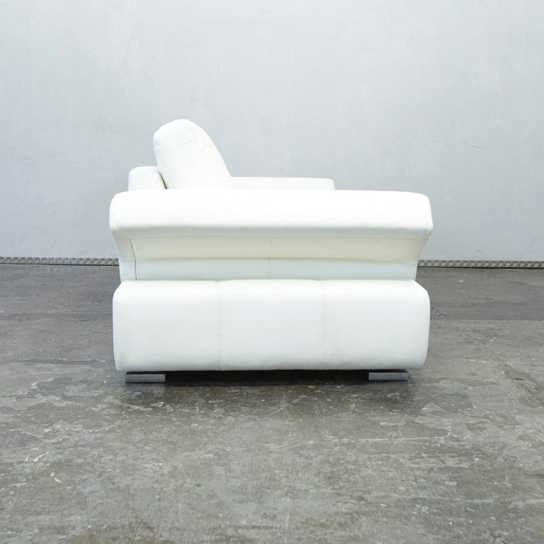 musterring linea designer leather sofa white three seat. Black Bedroom Furniture Sets. Home Design Ideas