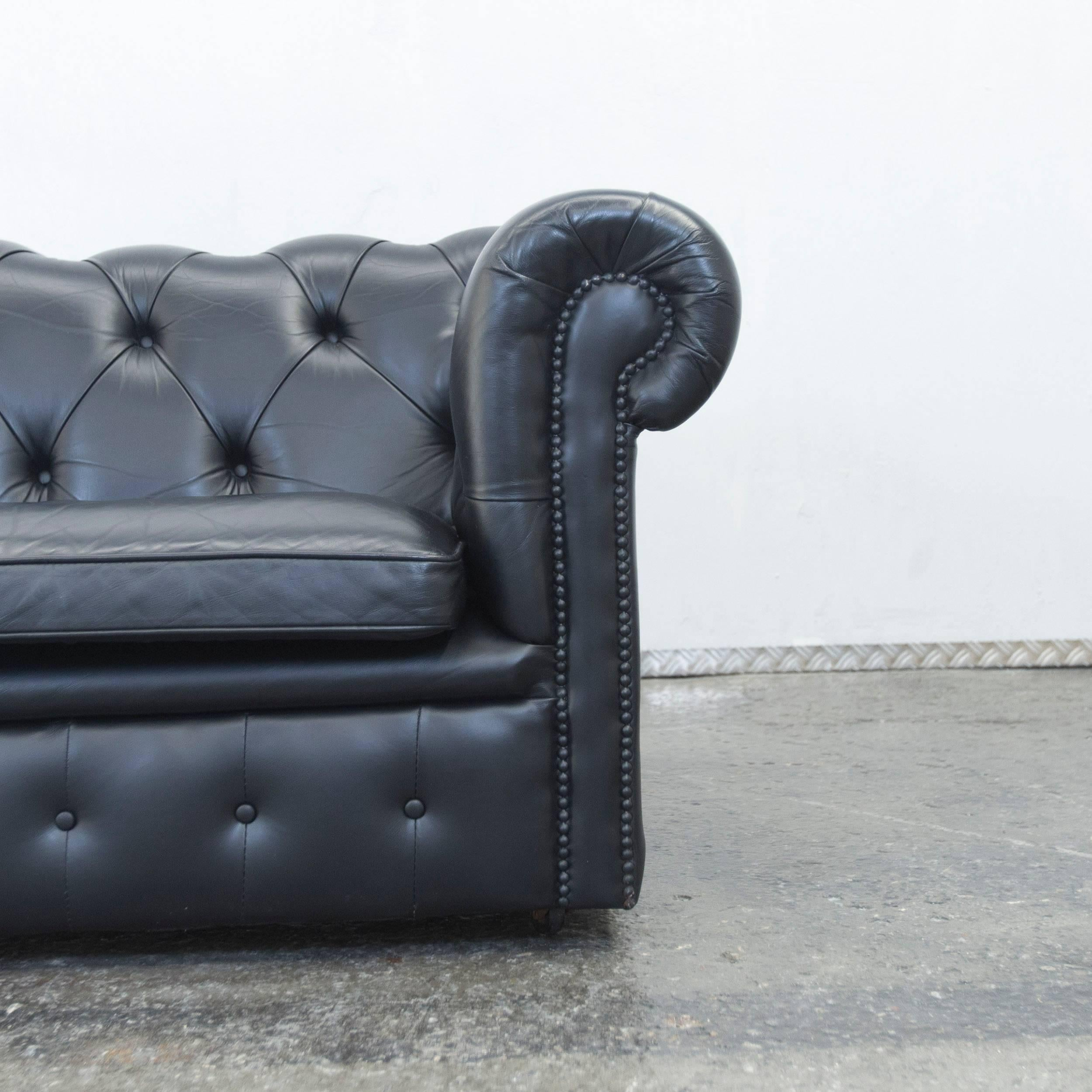 British Springvale Chesterfield Sofa Black Leather Two Seat Couch Vintage  Retro For Sale