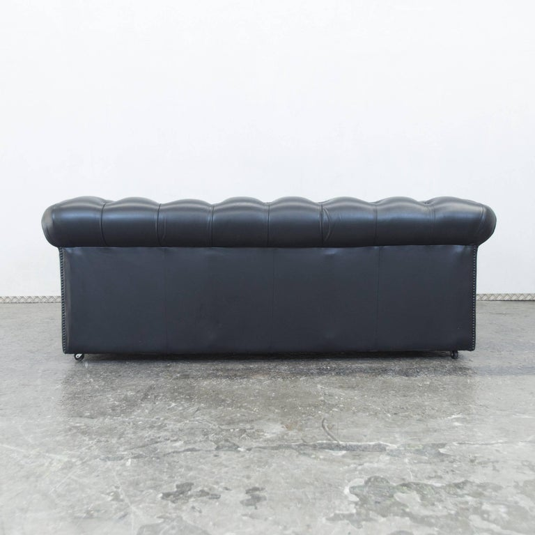 Springvale Chesterfield Sofa Black Leather Two Seat Couch Vintage