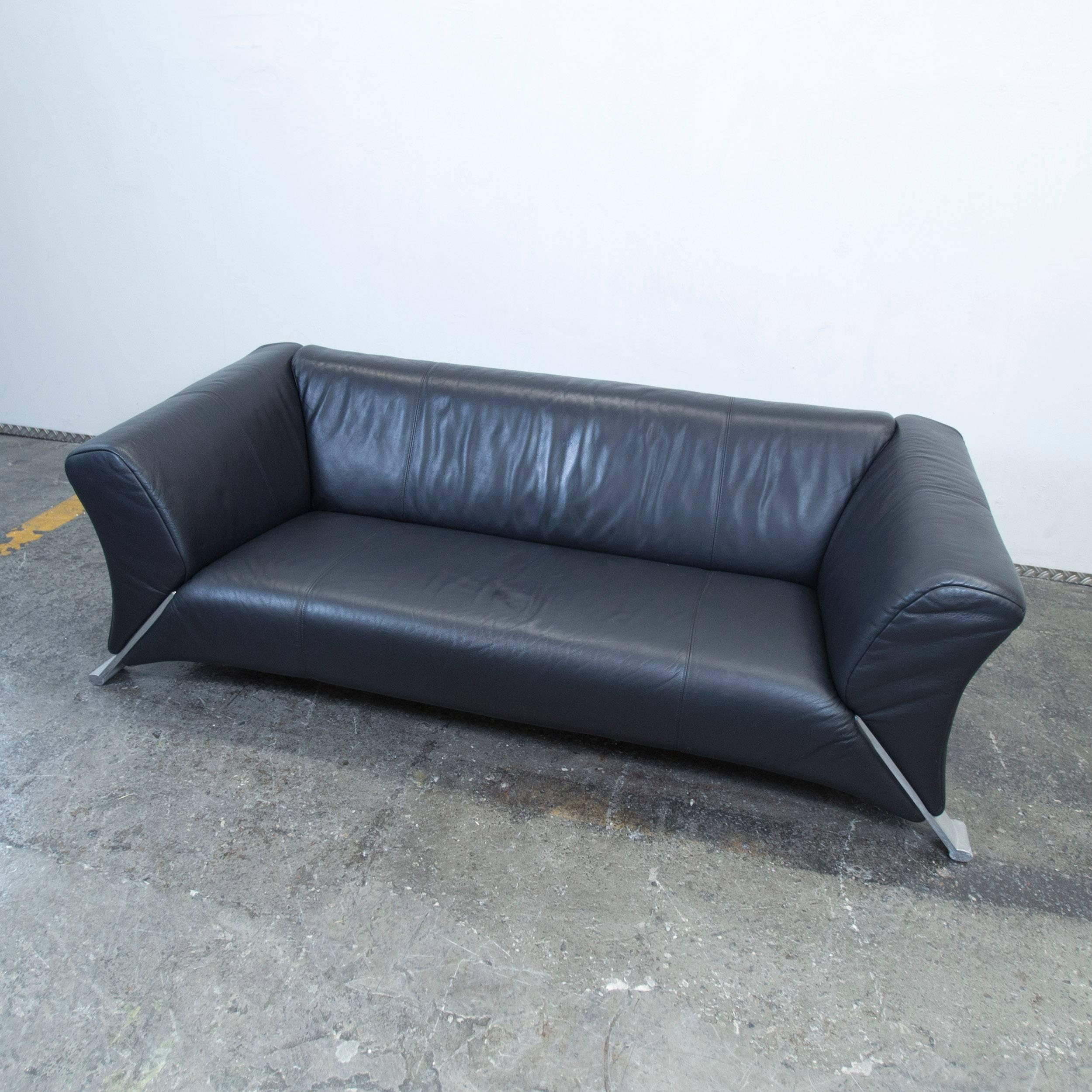 Rolf Benz 322 Designer Leather Sofa Black Three-Seat Couch ...