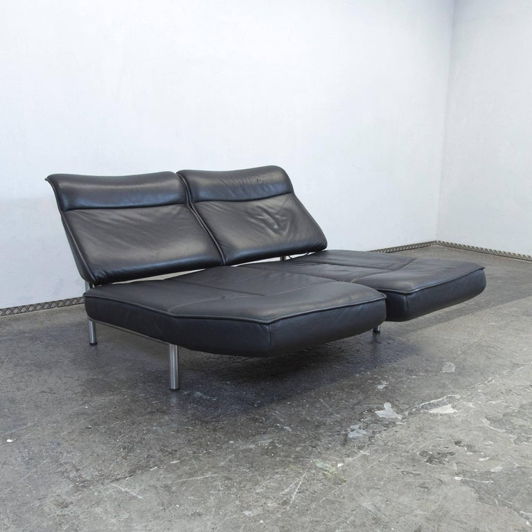 De Sede Ds 450 Designer Leather Sofa Black Relax Function Two Seat Modern At 1stdibs