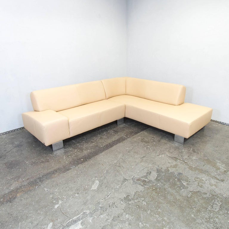 Musterring designer corner sofa beige leather couch modern for Musterring sofa