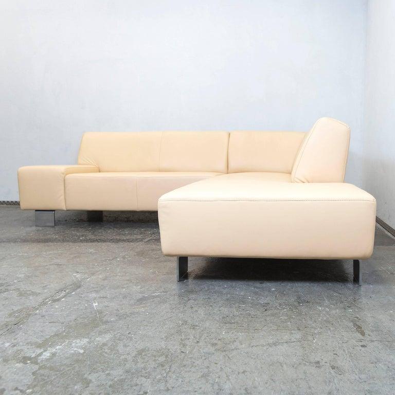 musterring designer corner sofa beige leather couch modern at 1stdibs. Black Bedroom Furniture Sets. Home Design Ideas