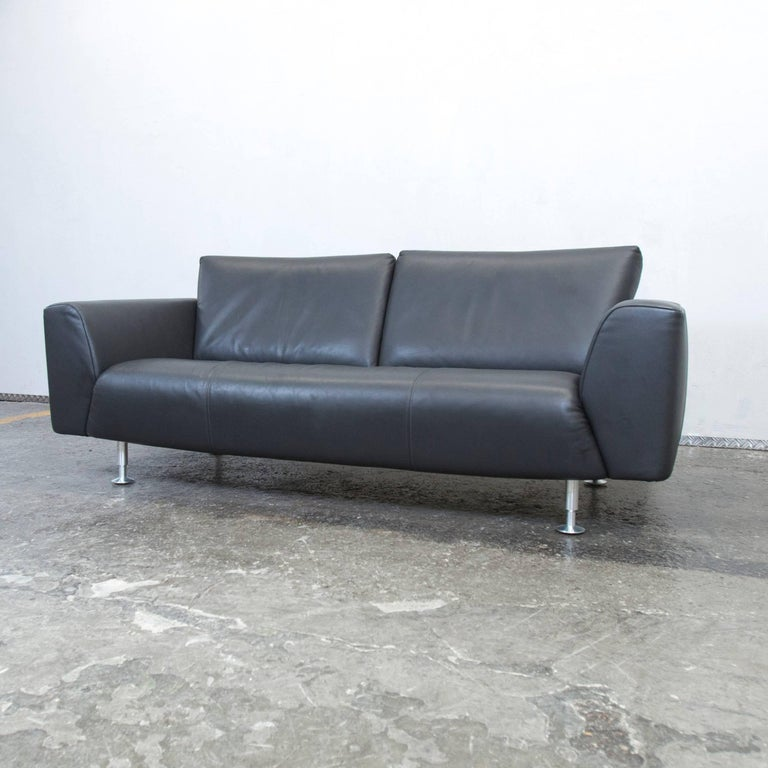 rolf benz designer sofa anthrazit grey leather three seat couch modern at 1stdibs. Black Bedroom Furniture Sets. Home Design Ideas