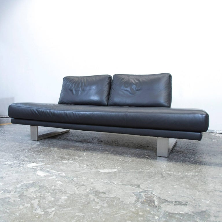 rolf benz sob 6600 designer leather sofa black three seat. Black Bedroom Furniture Sets. Home Design Ideas
