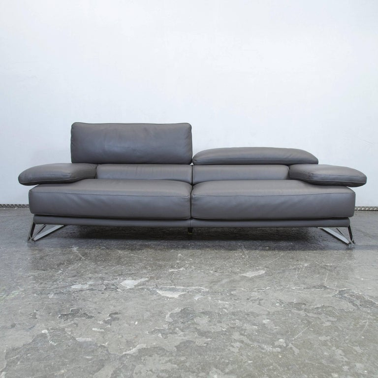 Roche Bobois Designer Sofa Grey Leather Three-Seat Couch Function Modern 5