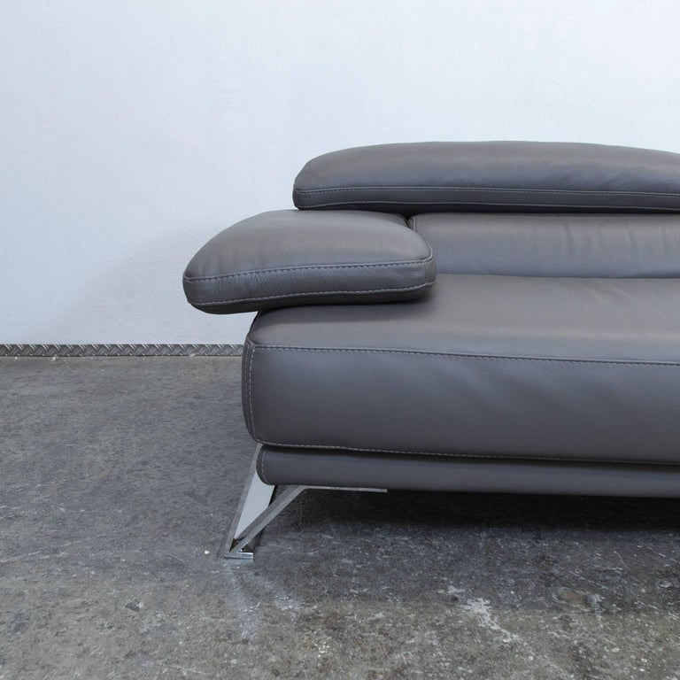 Roche Bobois Designer Sofa Grey Leather Three-Seat Couch Function Modern 2