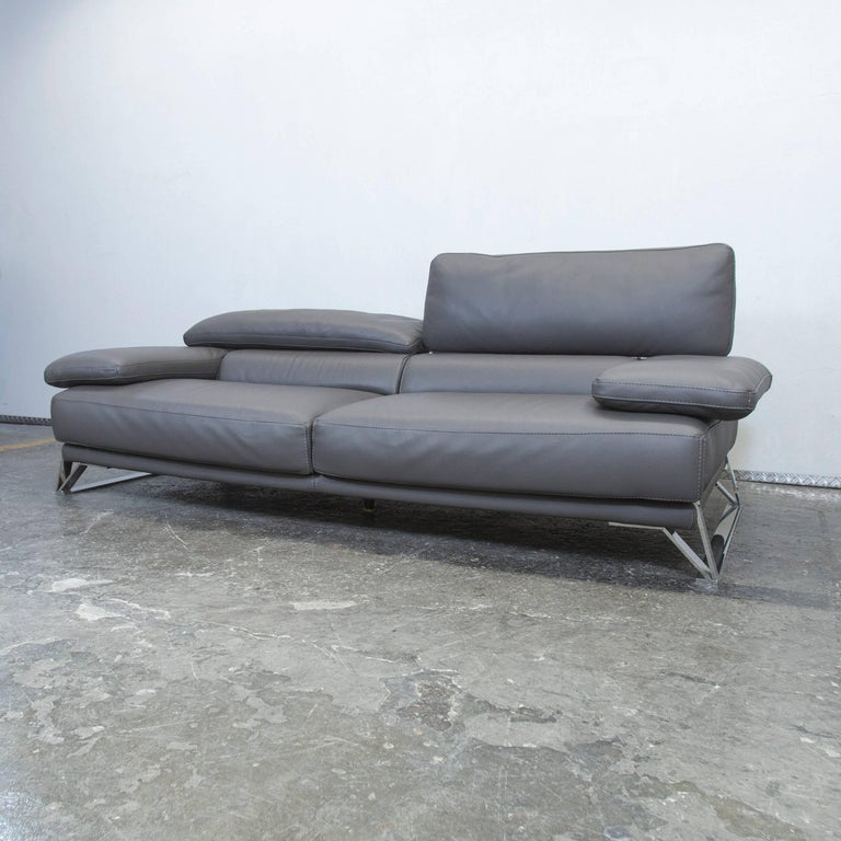 Roche Bobois Designer Sofa Grey Leather Three-Seat Couch Function Modern 4