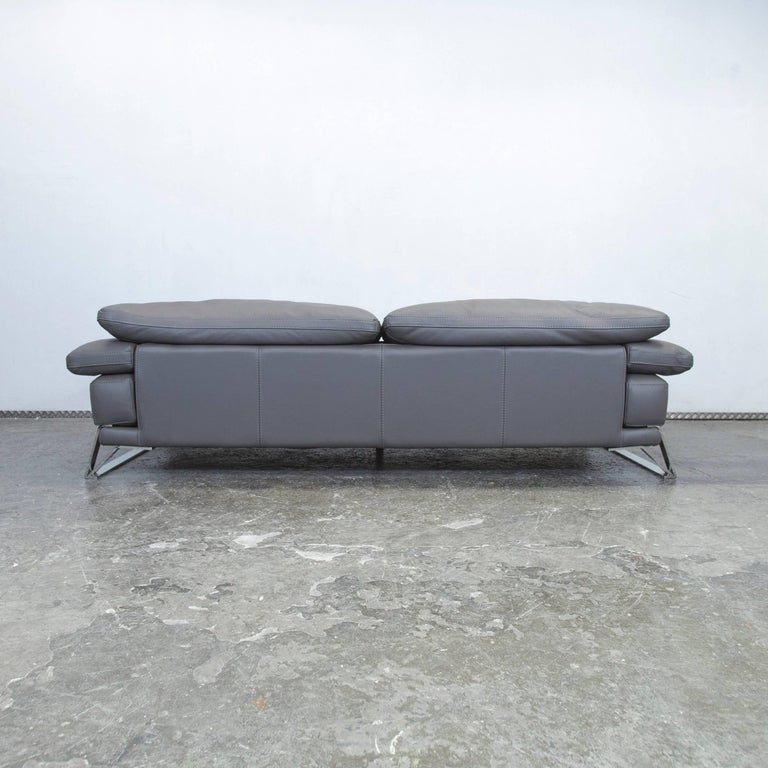 Roche Bobois Designer Sofa Grey Leather Three-Seat Couch Function Modern 8