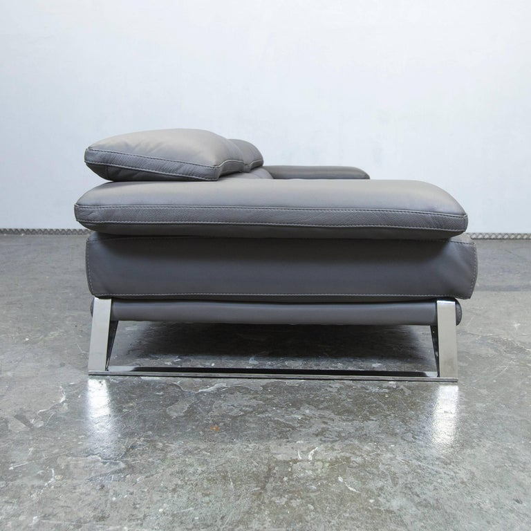 Roche Bobois Designer Sofa Grey Leather Three-Seat Couch Function Modern 9