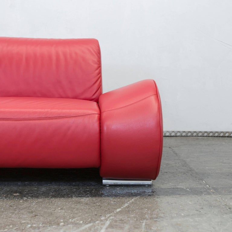 Hummel Designer Leather Sofa Red Three Seat Function Couch