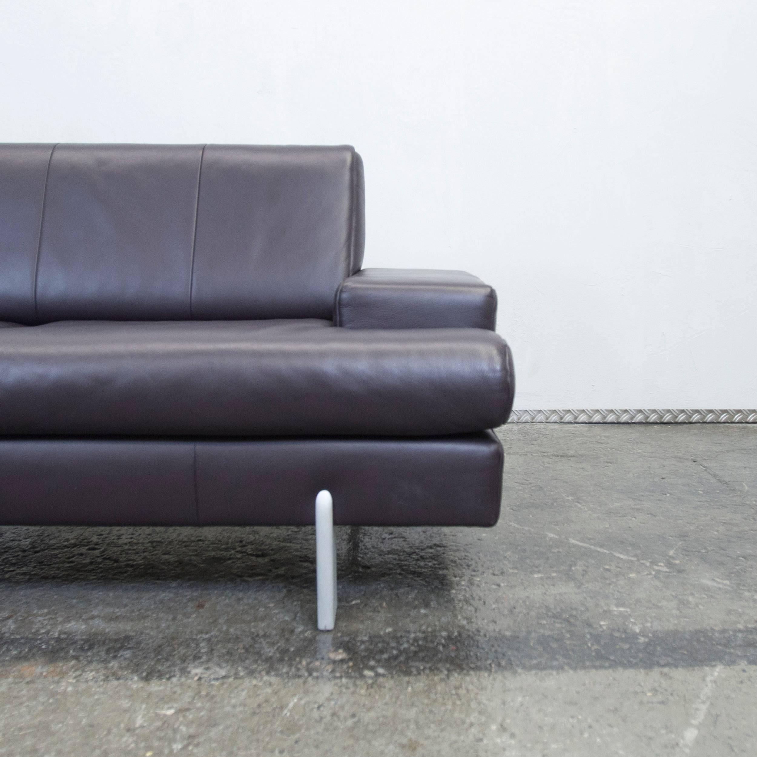 German BMP Rolf Benz Designer Leather Sofa Aubergine Lilac Two Seat Couch  Modern For Sale