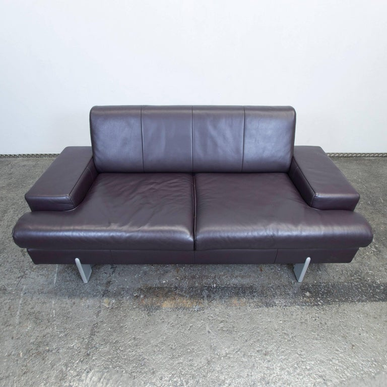 Bmp Rolf Benz Designer Leather Sofa Aubergine Lilac Two Seat Couch Modern In Excellent Condition