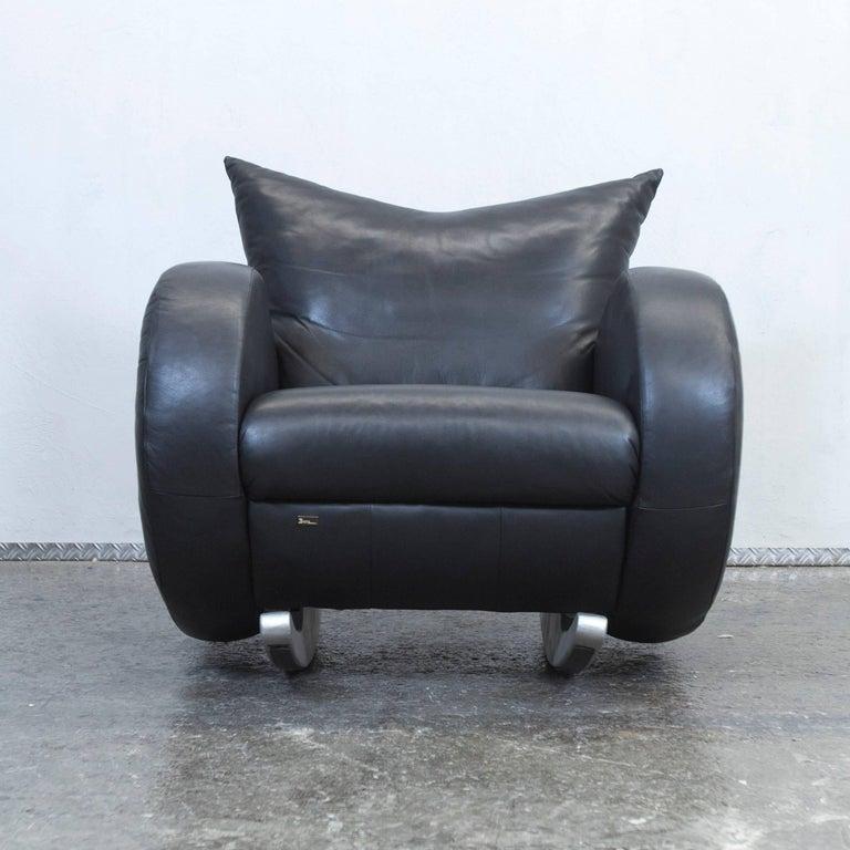 Bretz designer armchair black leather one seat couch for Sessel schaukelstuhl