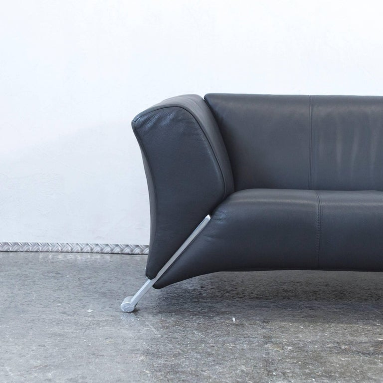 Rolf Benz 322 Designer Leather Sofa Black Three-Seat Couch Modern ...