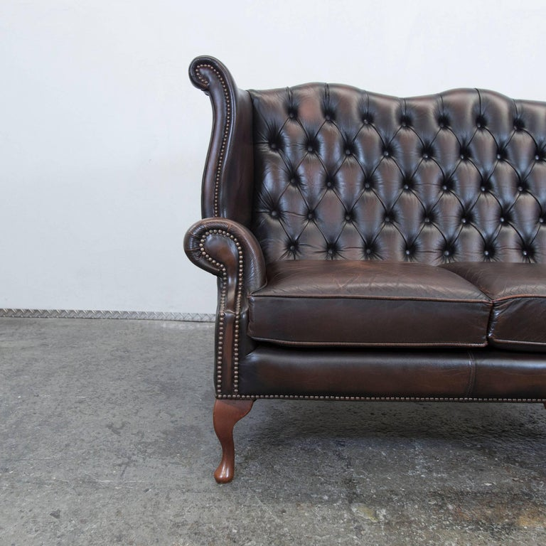 centurion chesterfield leather sofa brown queen anne vintage retro three seat for sale at 1stdibs. Black Bedroom Furniture Sets. Home Design Ideas