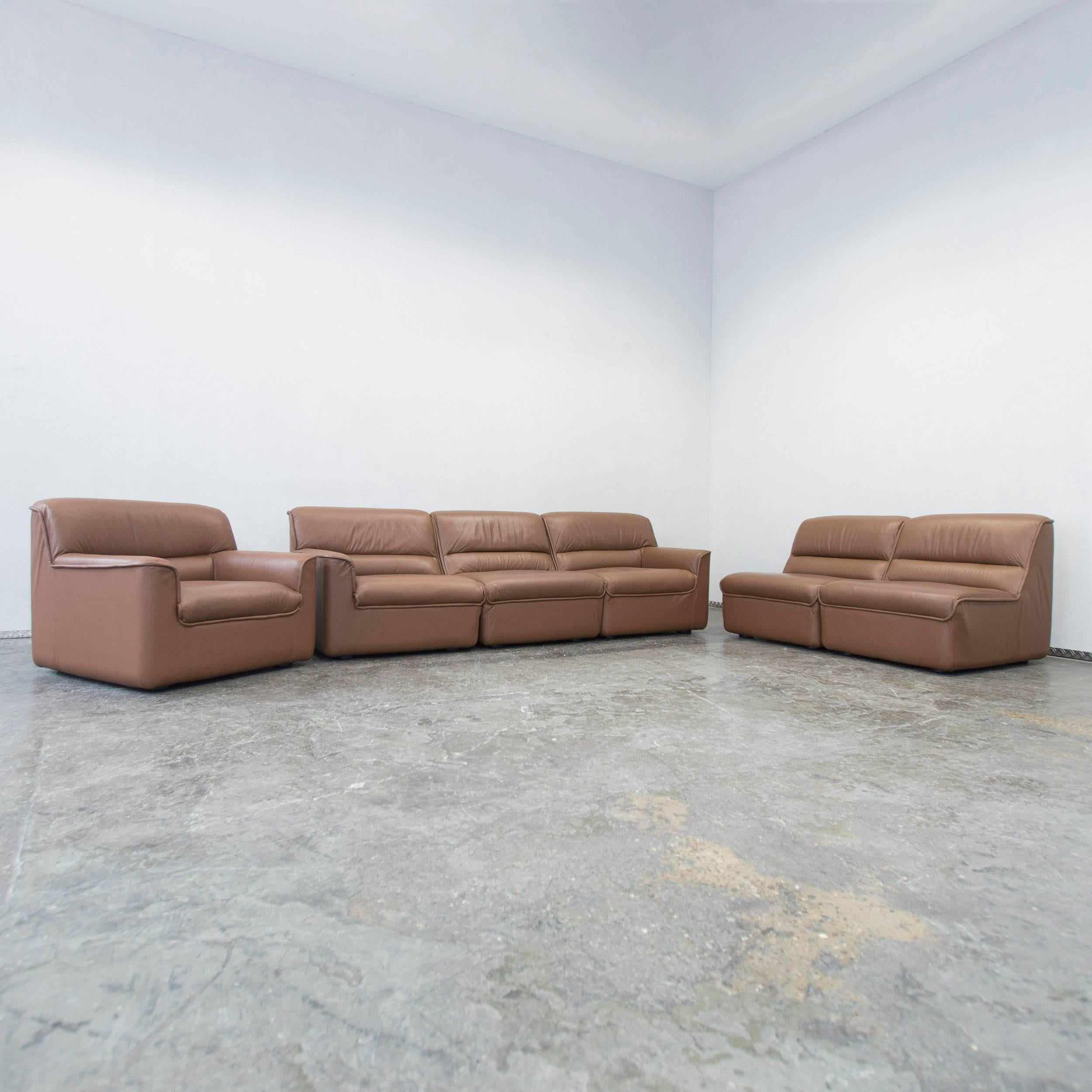 COR Designer Leather Modular Sofa Set Brown Couch Vintage Retro At 1stdibs