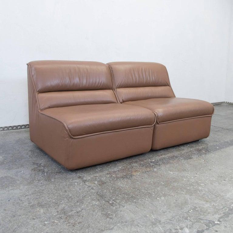 cor designer leather modular sofa set brown couch vintage retro for sale at 1stdibs. Black Bedroom Furniture Sets. Home Design Ideas