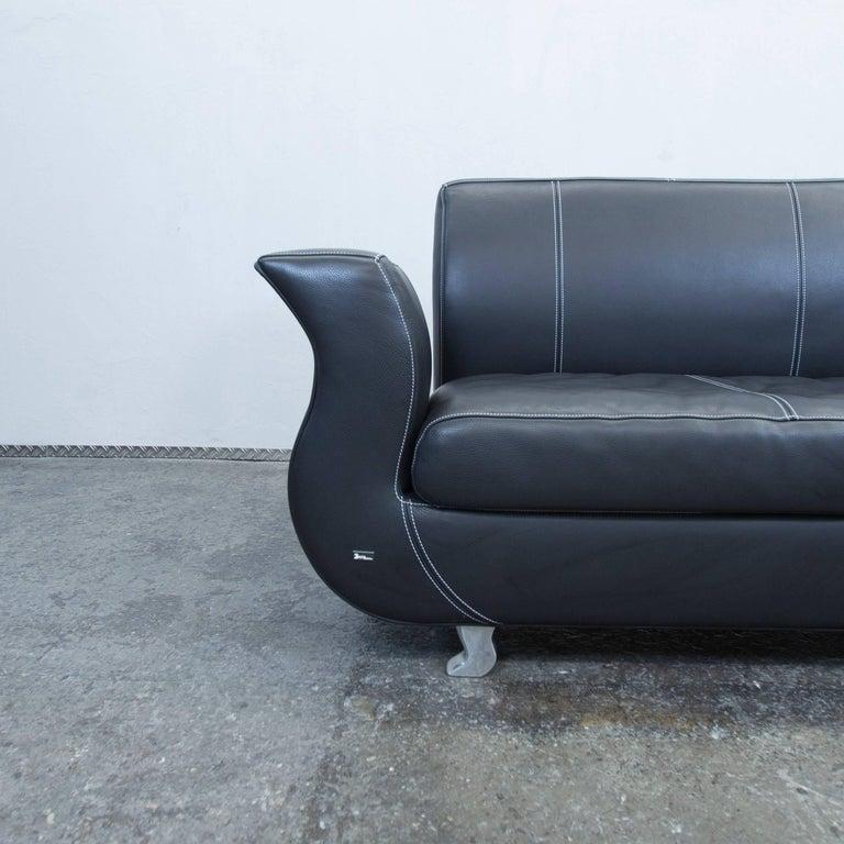 Bretz Moon Designer Leather Sofa Black Three-Seat Couch Modern For ...